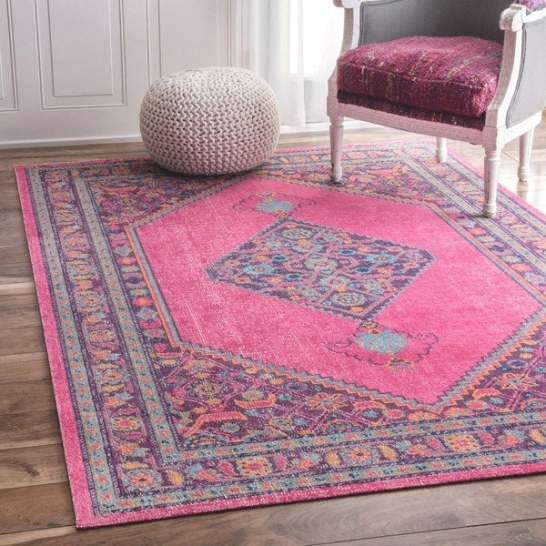 Shop Nuloom Vintage Persian Border Pink Rug - 5' X 7'5 with 5 X 7 Rugs
