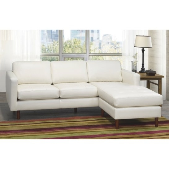 Shop Ray Mid Century Modern Ivory Top Grain Leather Tufted within Small Mid Century Modern Sectional