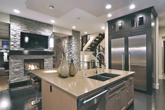 Sleek Kitchen With Stone Accent Wall - Contemporary inside Accent Walls In Kitchens