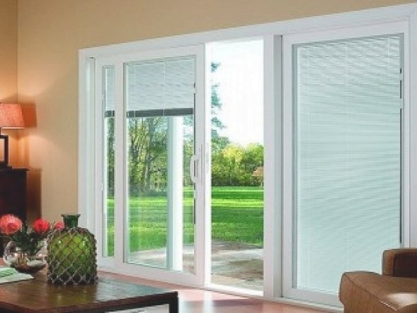 Sliding Glass Doors With Blinds Inside Them    Photo for Windows With Blinds Inside