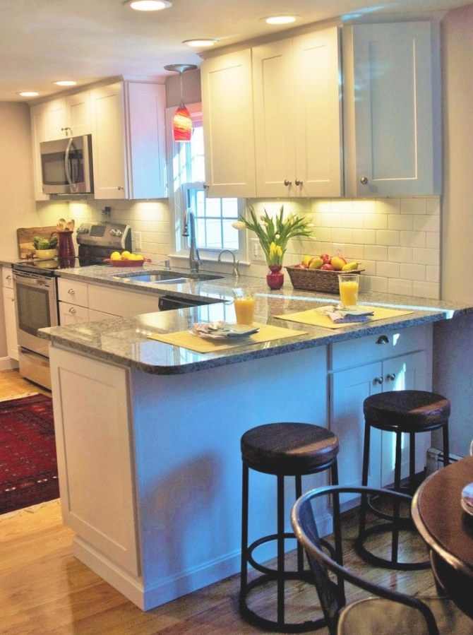 Small Kitchen With Extra Seating At Peninsula | Home regarding Image Of Small Kitchen