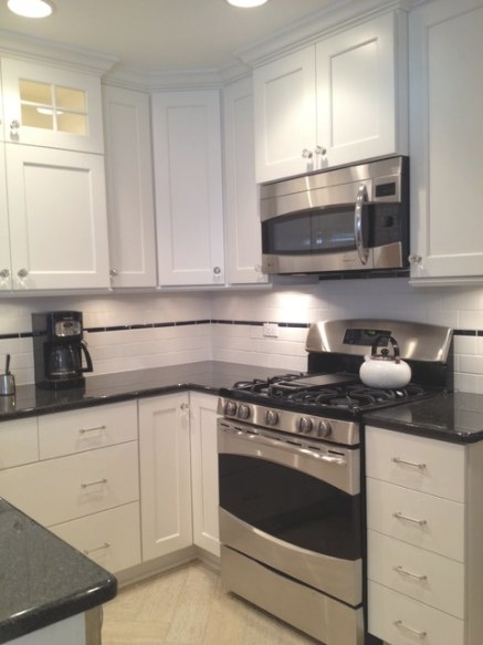 Small U-Shaped White, Custom, Painted Kitchen In Skokie inside Small U Shaped Kitchen