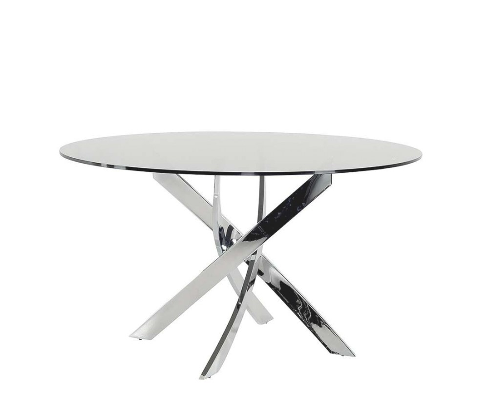 Smoked Glass Round Dining Table Vg087   Modern Dining within Round Glass Dining Table