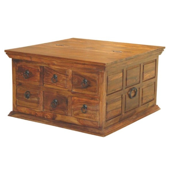 Solid Sheesham Wood 6 Drawer Square Coffee Table Trunk within Coffee Table With Drawers