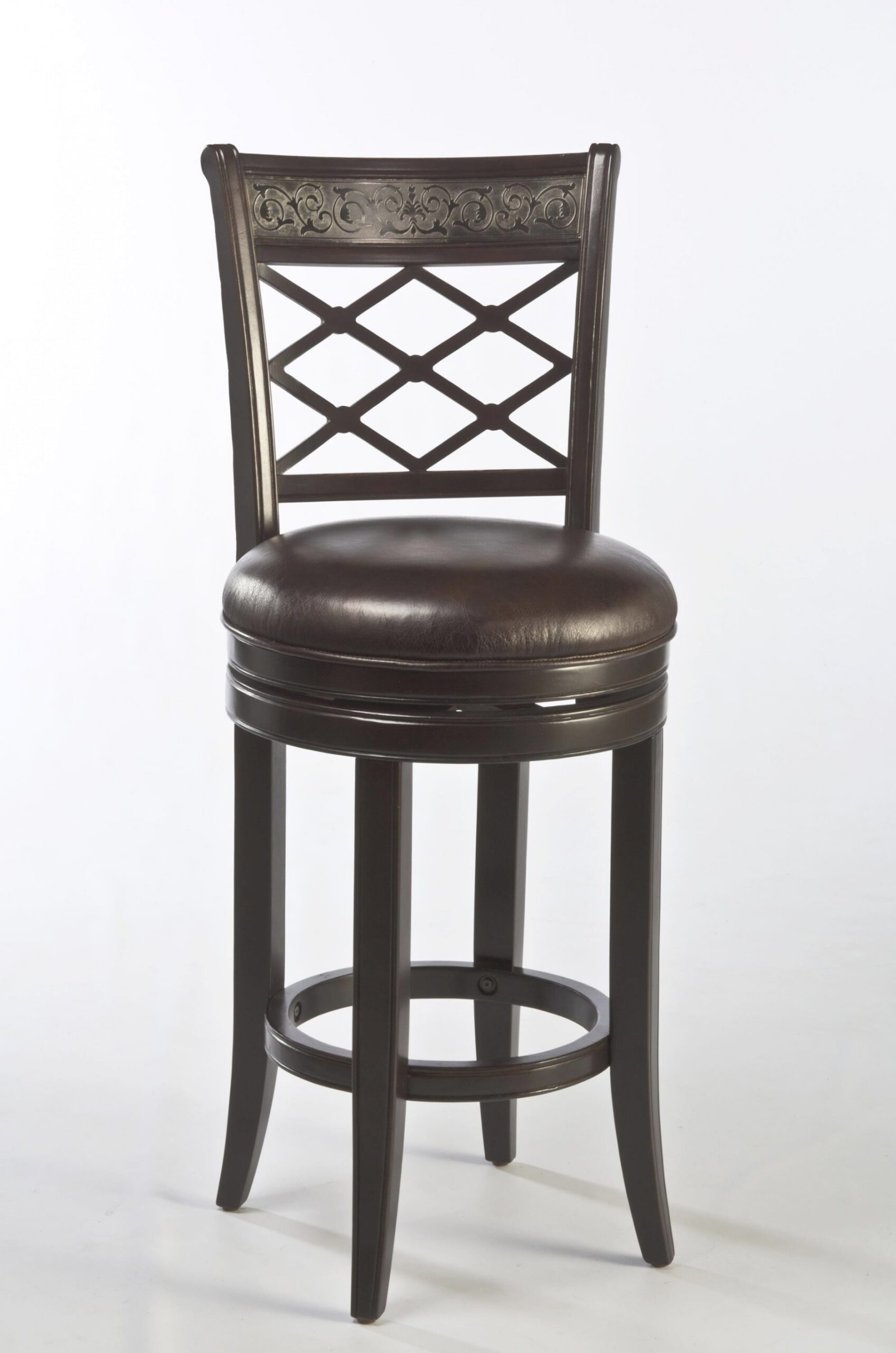 Spalding Swivel Bar Stool With Etched Pattern pertaining to Swivel Bar Stools With Backs
