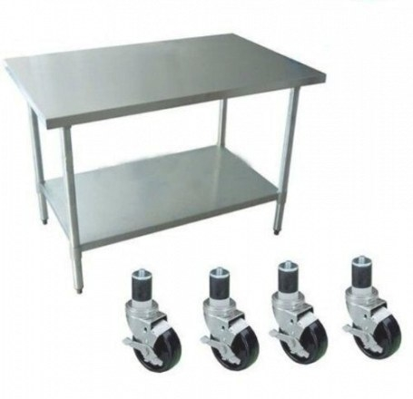 Stainless Steel Work Table Rolling Nurse Station Kitchen regarding Stainless Steel Table Top