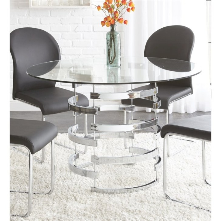 Steve Silver Tayside Round Glass Top Dining Table In Black intended for Round Glass Dining Table
