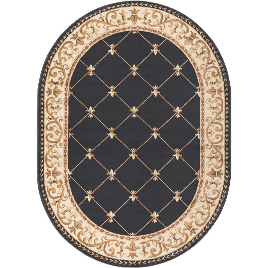 Tayse Rugs Sensation Black 5 Ft. X 7 Ft. Oval Traditional with 5 X 7 Rugs