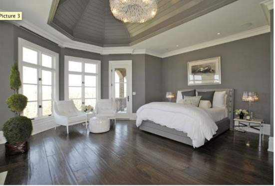 The Bedroom, Color Blocked Grey And White Walls With Dark within Dark Wood Floor Bedroom