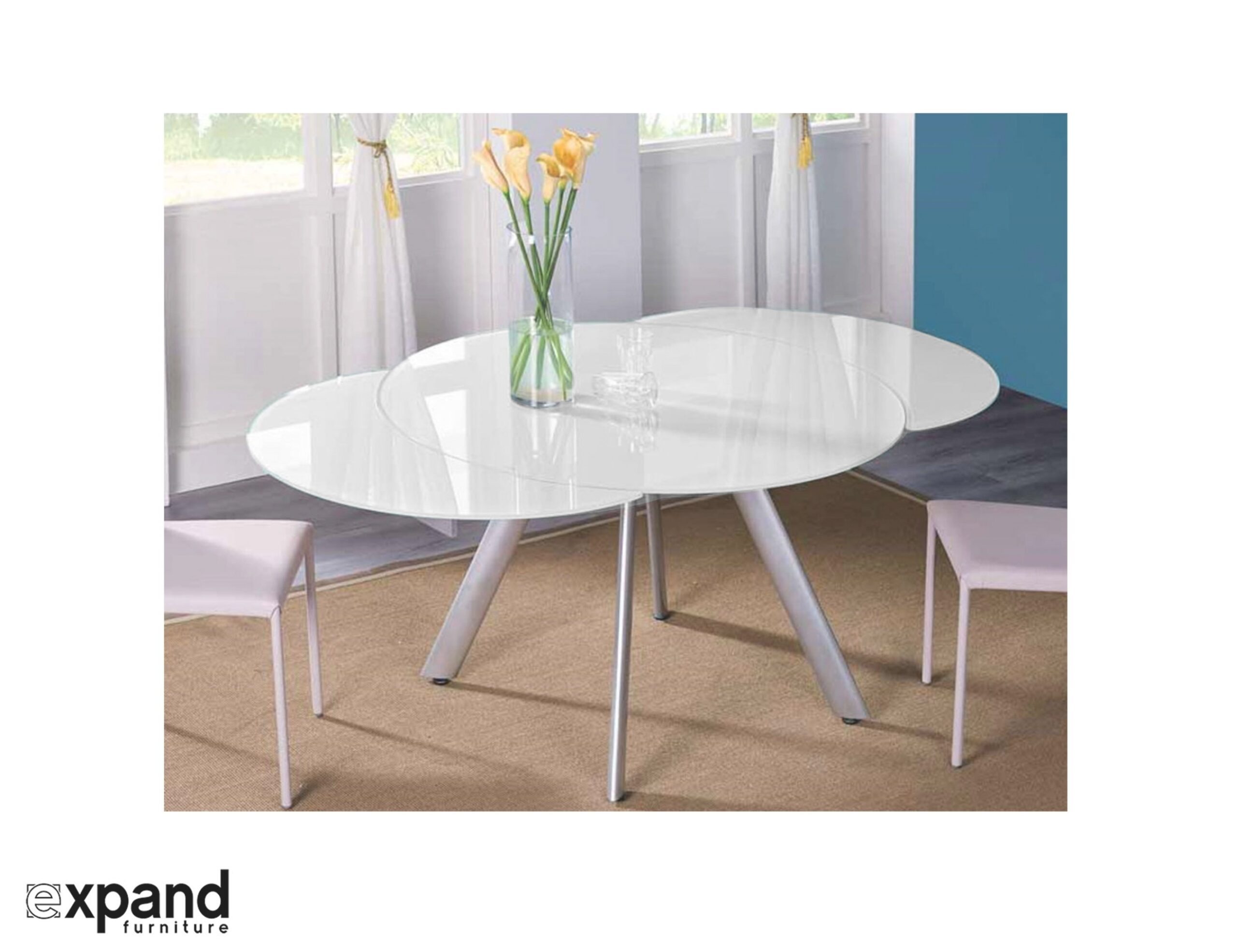 The Butterfly Expandable Round Glass Dining Table - Expand within Round Glass Dining Table