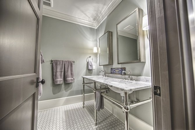 """The Paint Color Is Benjamin Moore 2137-50 """"Sea Haze"""" In An pertaining to Eggshell Paint For Bathroom"""