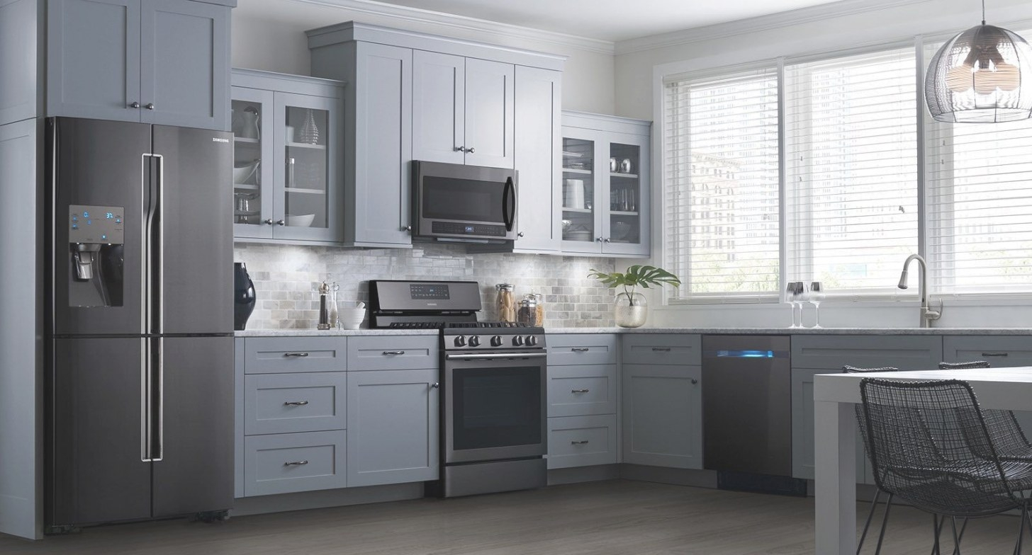 These Samsung Black Stainless Steel Appliances Look throughout White And Stainless Steel Kitchen