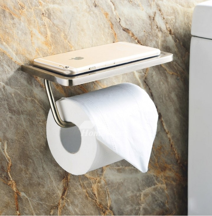 Toilet Paper Holder With Shelf Brushed Stainless Steel pertaining to Toilet Paper Holder With Shelf