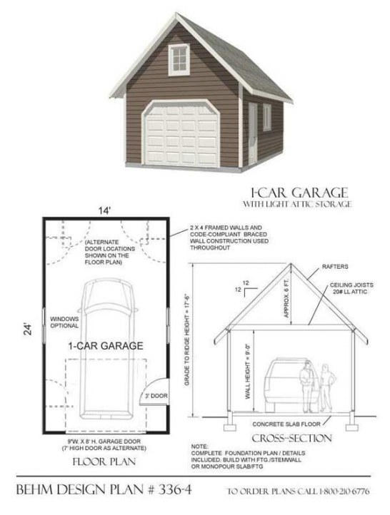 Traditional One Car Garage Has 9 Ft. Wall Height, Big 9 with How Big Is A 2 Car Garage