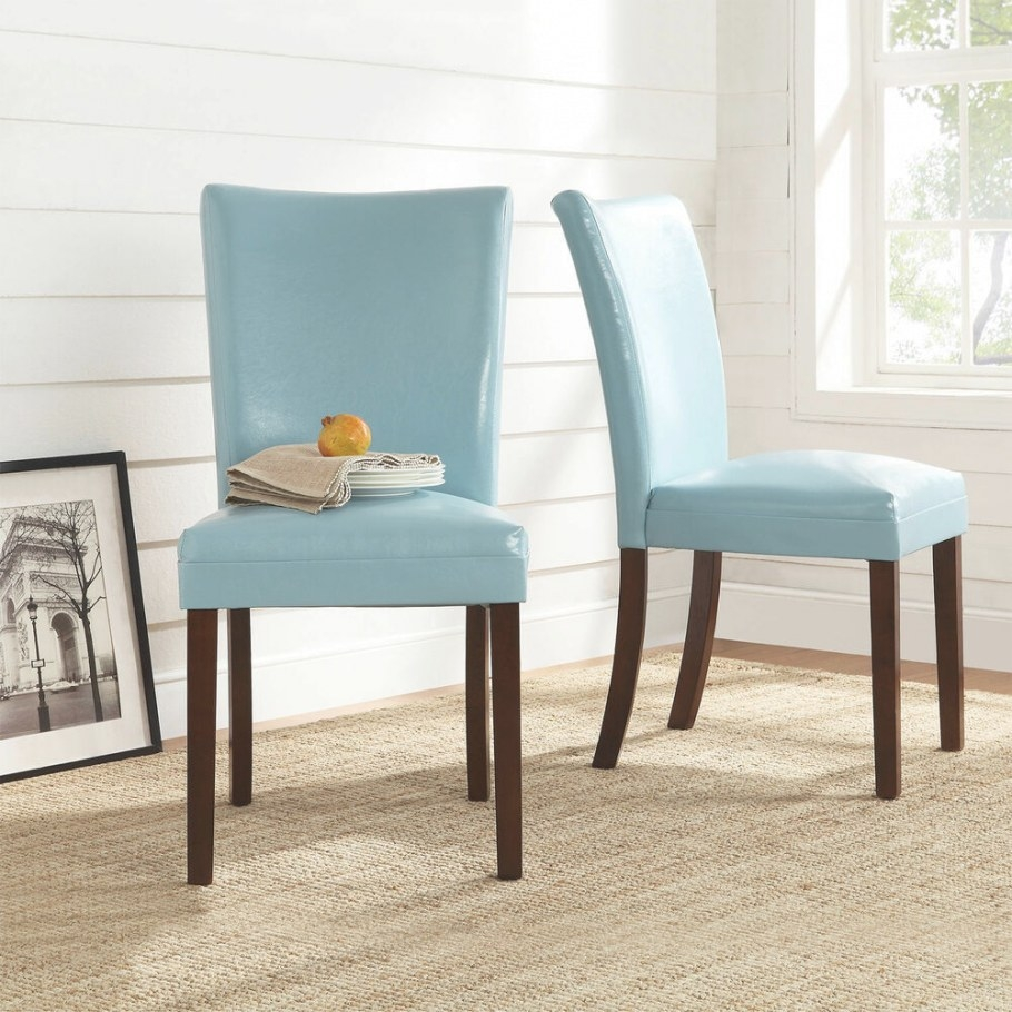 Tribecca Home Estonia Sky Blue Upholstered Dining Chairs for Restaurant Booths For Home