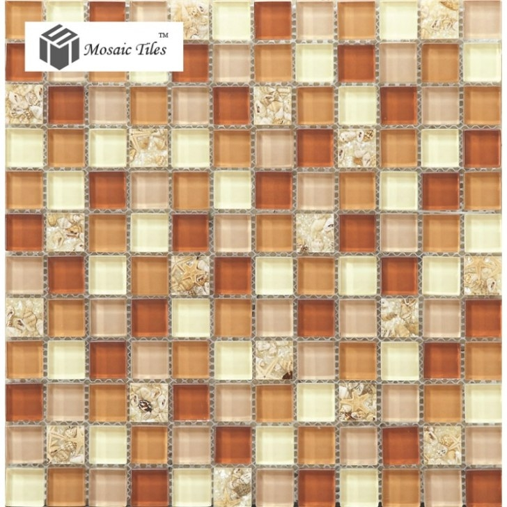 Tst Glass Conch Tiles Crystal Glass Mosaic Shell Inside within Brown And Beige Pinwheel Mosaic Tile Bathroom