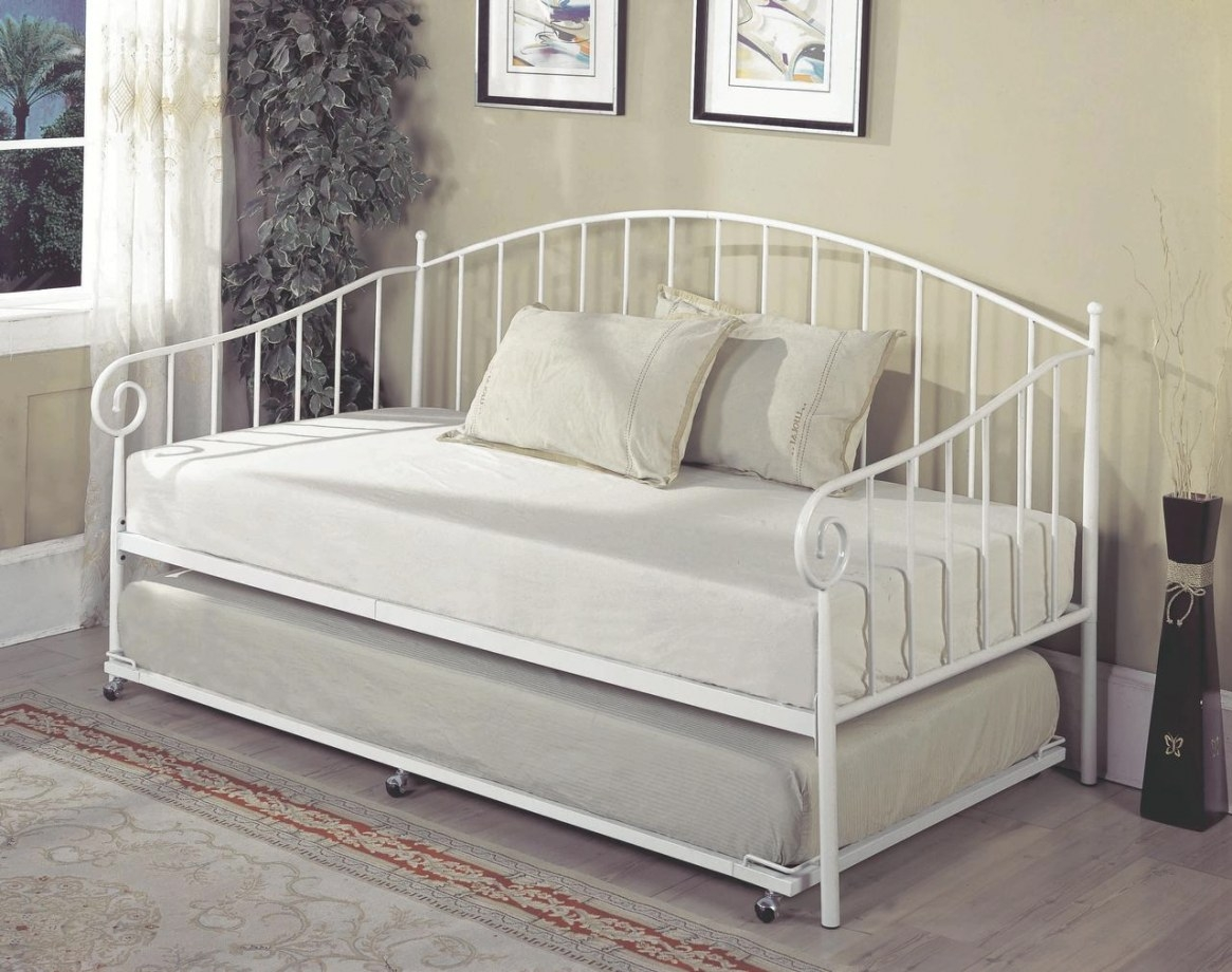 Twin Size White Metal Day Bed Frame With Pop-Up High Riser for Daybed With Pop Up Trundle