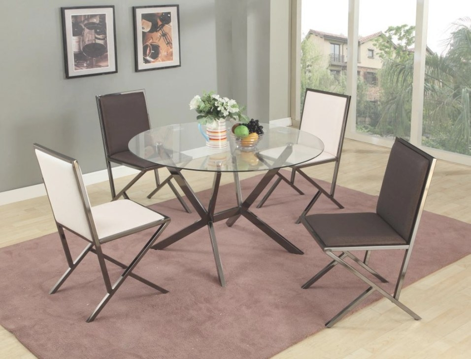 Unique Round Clear Glass Top Dinette Tables And Chairs throughout Round Glass Dining Table