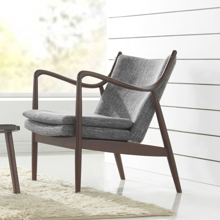 Upholstered Club Chair Mid Century Modern Grey Fabric Wood in Mid Century Modern Recliner