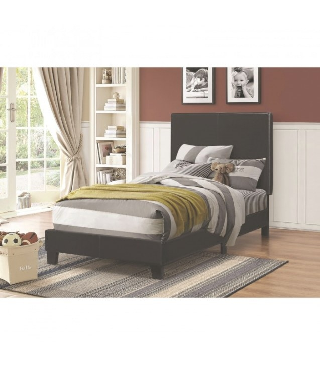 Upholstered Low-Profile Twin Size Bed. Black - Maranatha throughout Low Profile Bunk Beds