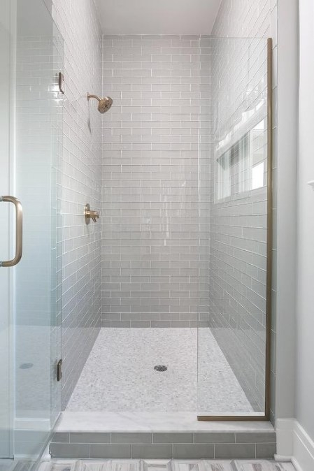 Walk In Shower With Gray Glass Subway Tiles And White with regard to Glass Subway Tile Bathroom