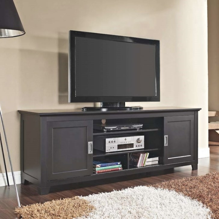 Walker Edison Solid Wood 70 Inch Tv Stand With Sliding in 70 Inch Tv Stand