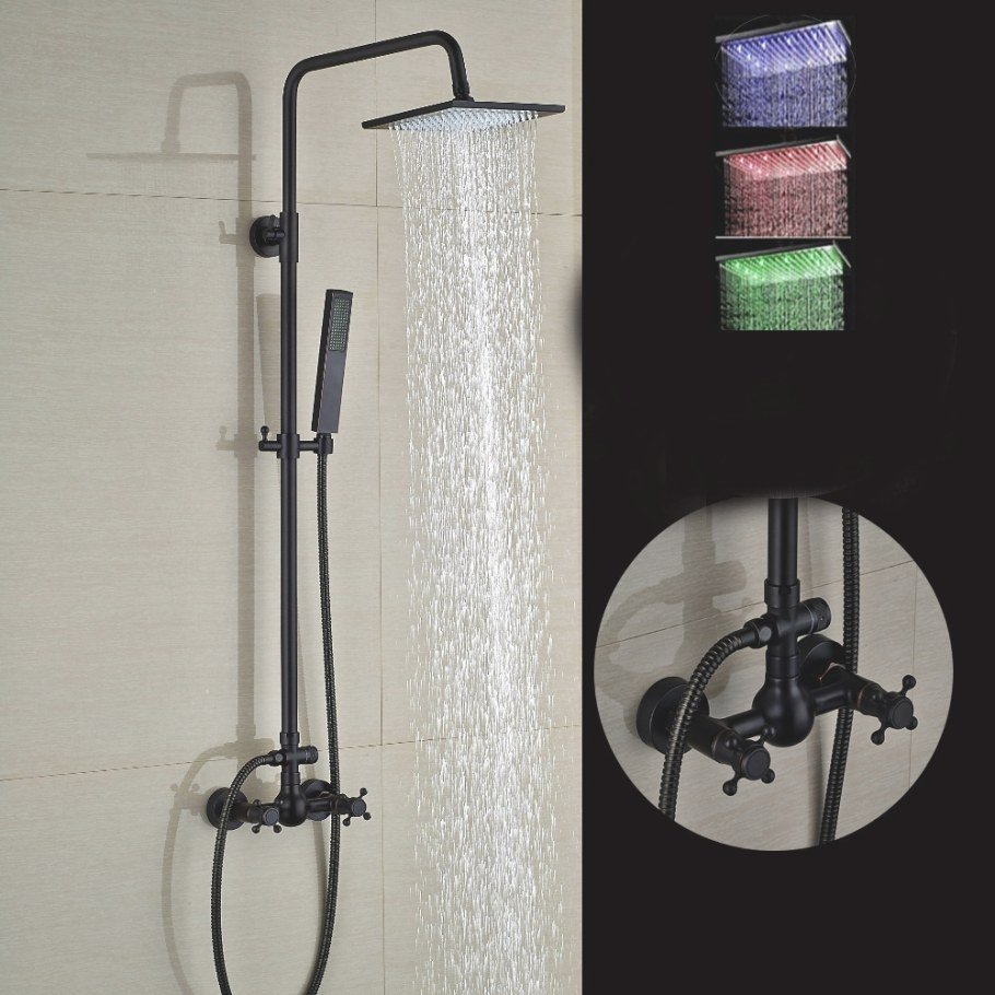 """Walker Oil Rubbed Bronze Wall Mounted 8"""" Square Hot & Cold pertaining to Oil Rubbed Bronze Shower Head"""