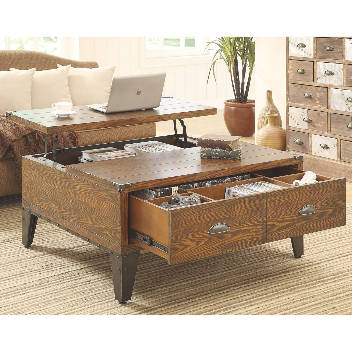 Wellington Lift-Top Coffee Table | Dark Wood Coffee Table intended for Lift Top Coffee Tables