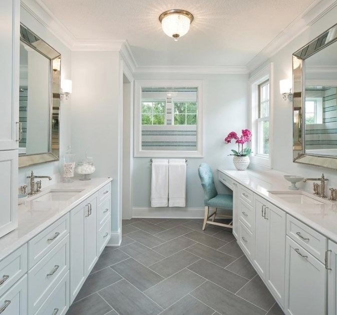 White And Brown Master Bathroom With Gold Accents pertaining to Grey And White Bathroom