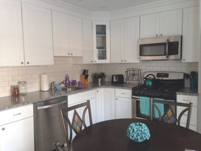 White/Grey Kitchen With Teal Accents. | Gray And White throughout Teal And Gray Kitchen