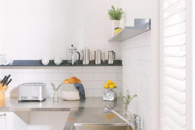 White Kitchen With Stainless Steel Countertops And Black regarding White And Stainless Steel Kitchen