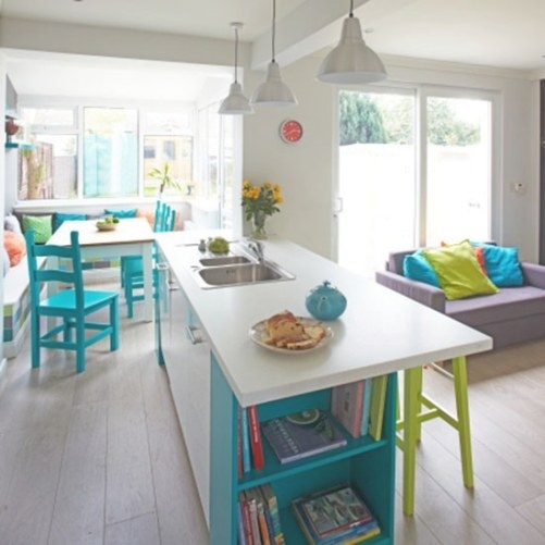 White Kitchen With Turquoise Chairs | Decorating pertaining to Yellow And Turquoise Kitchen