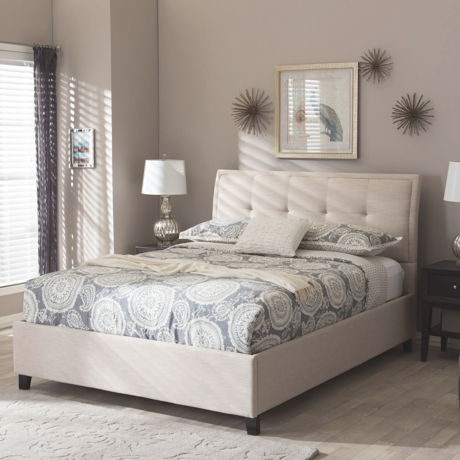 Wholesale Interiors Baxton Studio Queen Upholstered inside Queen Platform Bed With Storage And Headboard