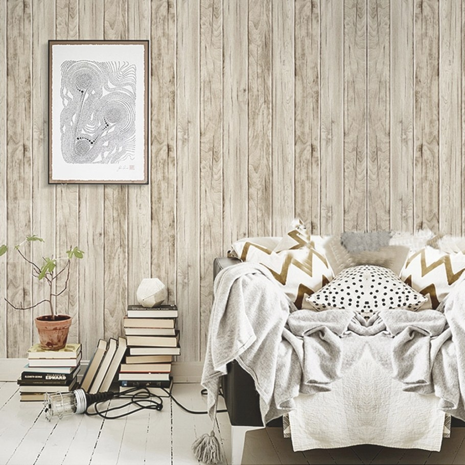 """Wood Panel Peel And Stick Wallpaper 23.6"""" X 19.7Ft Sand throughout Peel And Stick Wall Panels"""