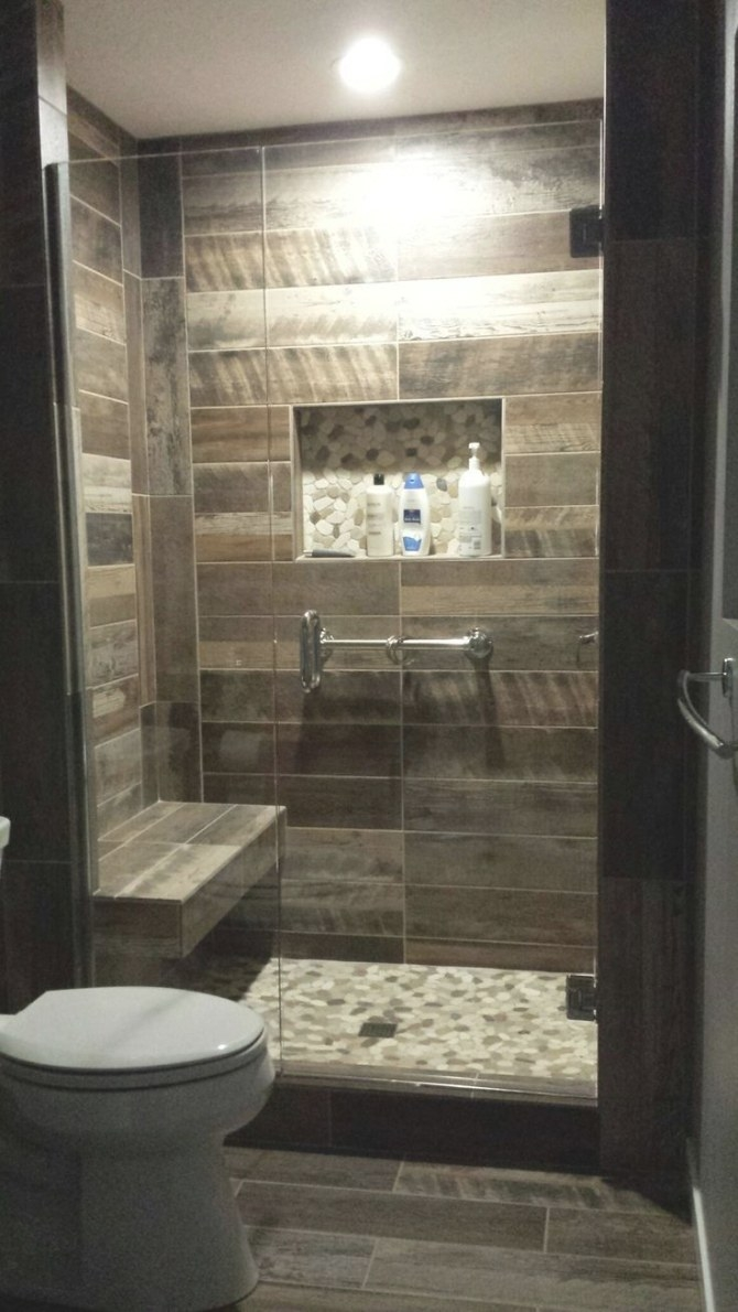 Wood Plank Tiled Shower Shower Seat Idea Pebble Floors And with regard to Wood Look Tile In Bathroom