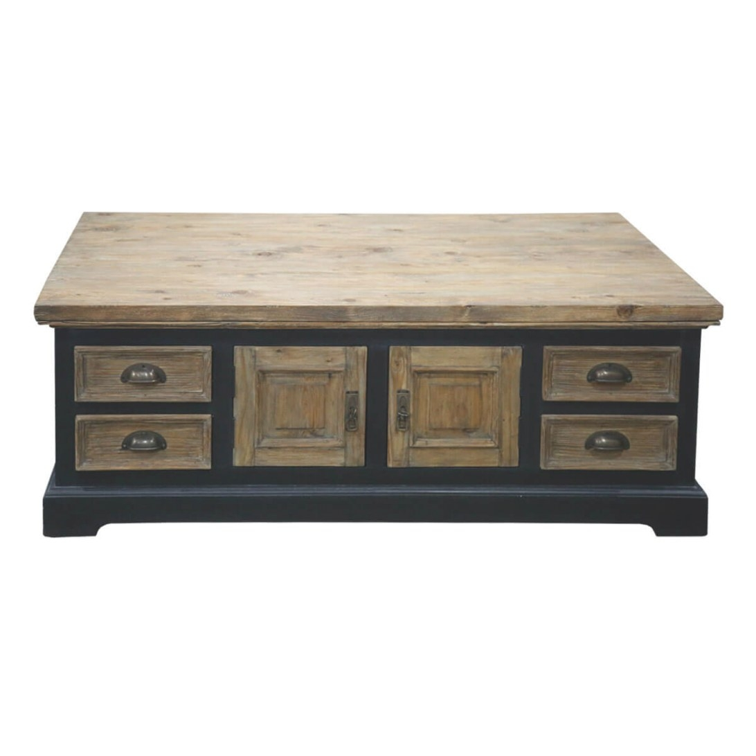 Wylie Teak And Mahogany Wood 8 Drawer Rectangular Storage in Coffee Table With Drawers