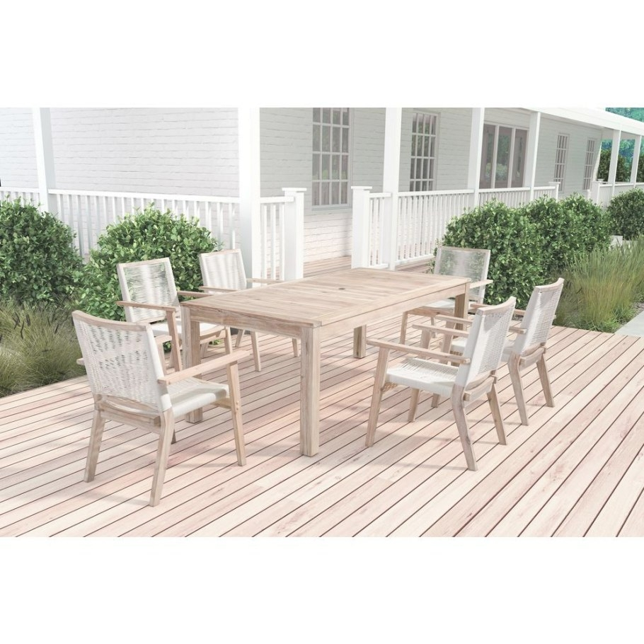 Zuo South Port Arm Wood Outdoor Dining Chair In White (2 inside Restaurant Booths For Home