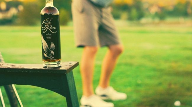 Eagle rare bourbon on golf club