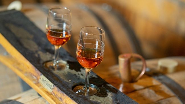 Glasses filled with buffalo trace bourbon