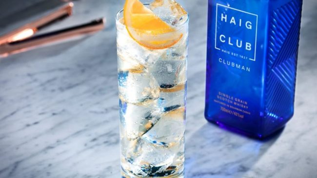 Haig club whisky with ice and lemon