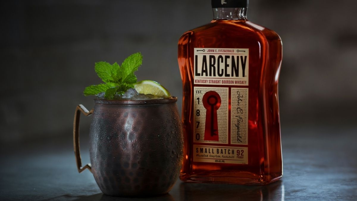Larceny 92 proof bourbon with glass