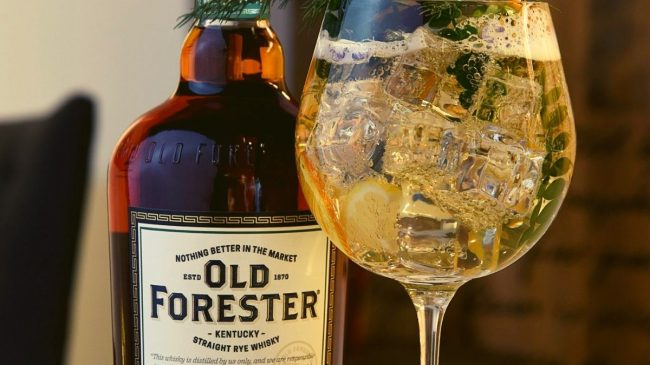 Old forester bourbon with glass and ice