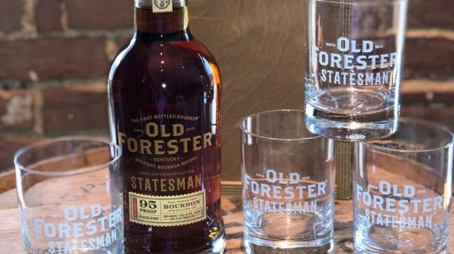 Old forester bourbon with glasses