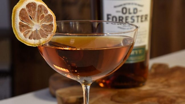 Old forester bourbon with lemon