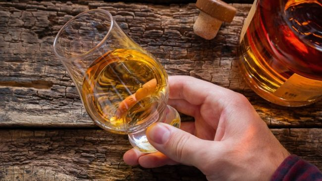 Whiskey glass tilted in hand