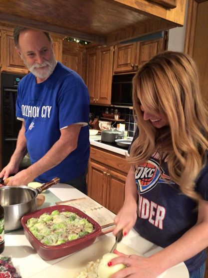 Whitney Bond with Dad in the kitchen