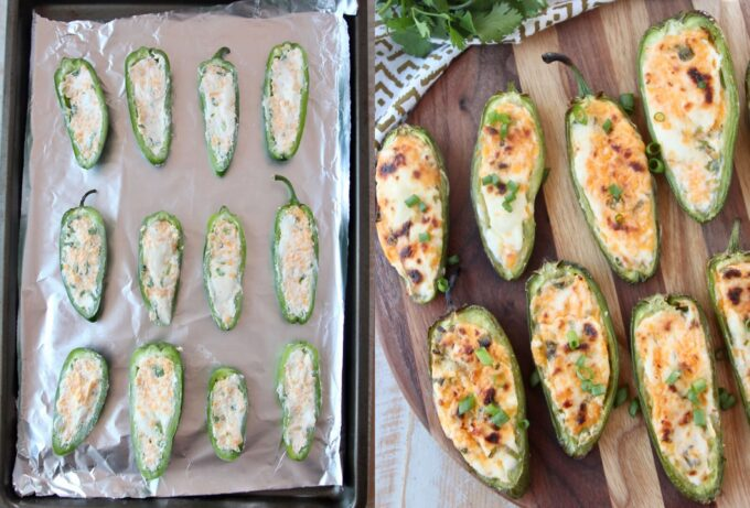 jalapeno poppers on foil lined baking sheet and cooked on wood cutting board