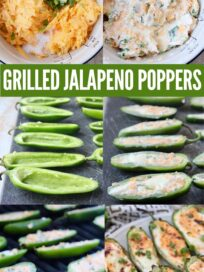 collage of images showing how to make grilled jalapeno poppers