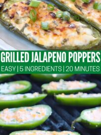 jalapeno poppers on grill and cooked served on a white plate