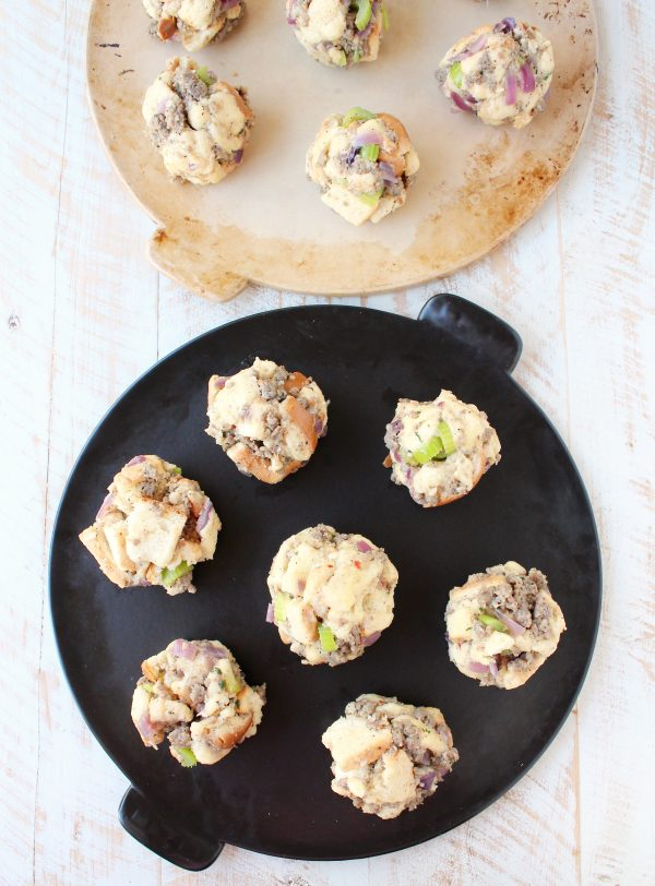 Sausage, potato bread, celery & sage are combined for a little taste of Thanksgiving all rolled up in these Sausage Stuffing Balls, perfect as a side dish or party appetizer!
